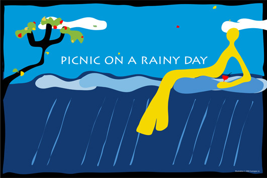 Picnic on a rainy day Studio Collection Illustration